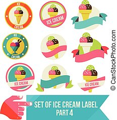 Set of modern ice cream shop badges and labels, vector...