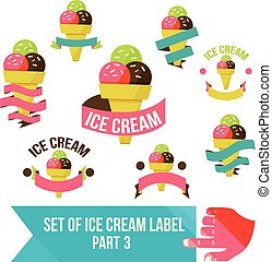 Set of modern ice cream shop badges and labels
