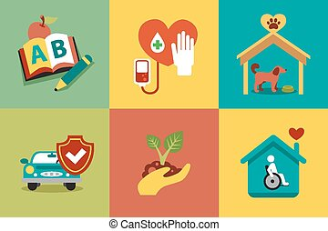 Set of modern icons in style flat on social issues