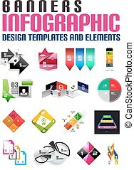 Set of modern infographic banners design templates