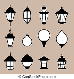 Set of modern lamp in flat style, isolated vector