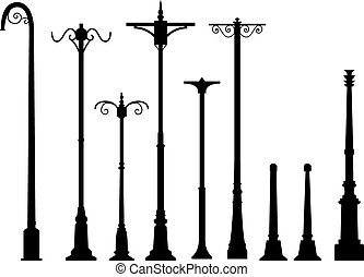 Set of modern lamp post in flat style