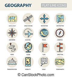 Set of modern linear icons with geography elements.