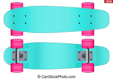 Set of Modern longboard isolated on white.