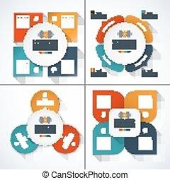 Set of modern minimal infographic design templates