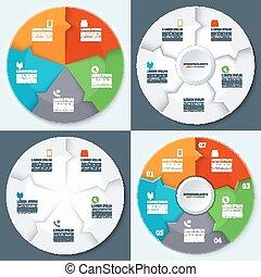 Set of modern minimal infographics circles