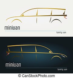 Set of modern minivan silhouettes. Vector illustration.