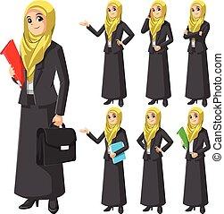 Set of Modern Muslim Businesswoman Wearing Yellow Veil or Scarf Cartoon Character Vector Illustration