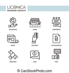 Set of modern office flat design simple line pictograms