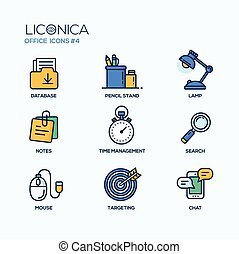 Set of modern office thin line flat design icons and pictograms. Business infographics objects, web elements.