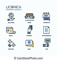 Set of modern vector office thin line flat design icons and pictograms. Collection of business infographics objects and web elements. Solutions, home, comments, news, payment, attachments, services, infor, faq