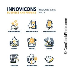 Set of modern office thin line flat design icons, pictograms. Business and finance infographics objects, web elements