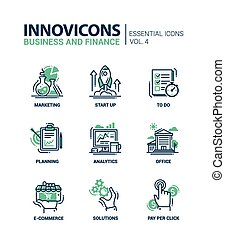 Set of modern office thin line flat design icons, pictograms. Business and finance infographics objects, web elements. Marketing, start up, to do list, planning, analytics, office, e-commerce, solutions, pay per click.