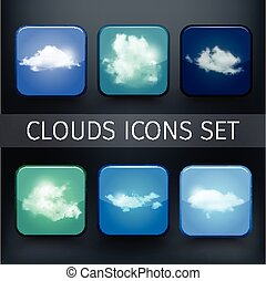 Set of modern realistic icons with sun and clouds.