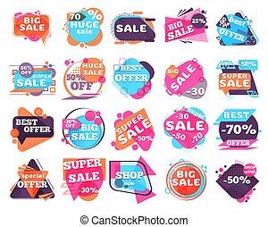 Set of modern sale labels