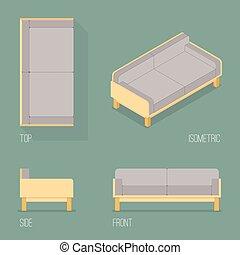 Set of modern sofa isometric drawing