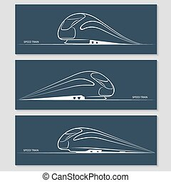 Set of modern speed train silhouettes isolated on dark...