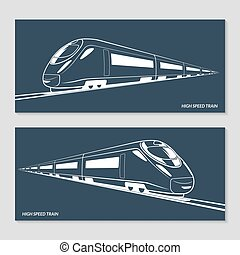 Set of modern speed train silhouettes, outlines, contours. Vector illustration