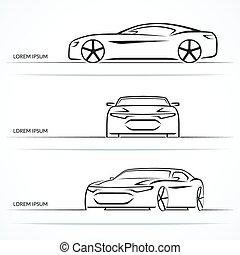 Set of modern sports car outlines. Vector illustration