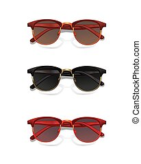 Set of modern sunglasses with shadow isolated on white background.