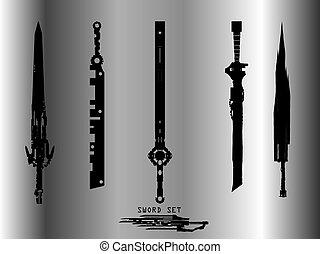 Set of modern swords.