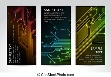 Set of modern dark vertical technical banners