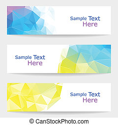 Set of modern vector banners with triangles