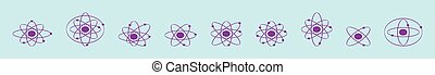 set of molecule cartoon icon design template with various models. vector illustration isolated on blue background