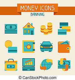 Set of money and banking icons.