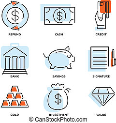 Set of money and value flat line vector icons depicting...
