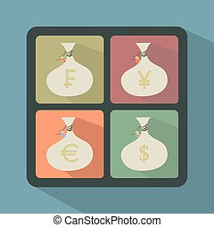 Set of Money Bags with currency symbols