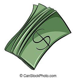 Set of money bills on a white background