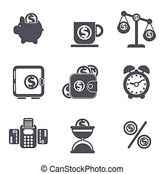 Set of money, finance, banking icons
