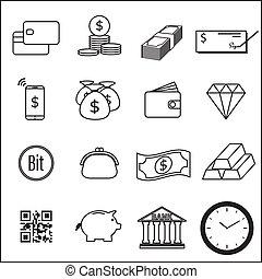 Set of Money Line Icon