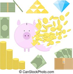 Set of money objects. Breaking Piggy Bank with lot of coins.