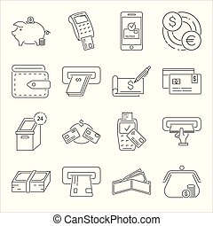 Set of money related vector line icons.