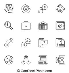 Set of Money vector concept icons in outline style