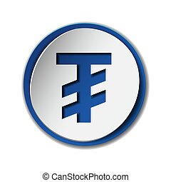 Mongolian tugrik currency symbol on round sticker with blue...