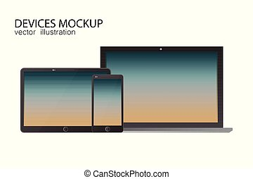 Set of monitor, tablet, laptop, smartphone. Vector illustration in realistic design.