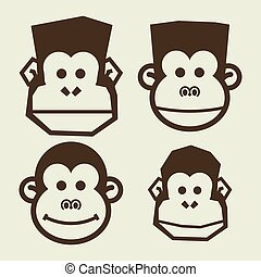 set of monkey head for template design