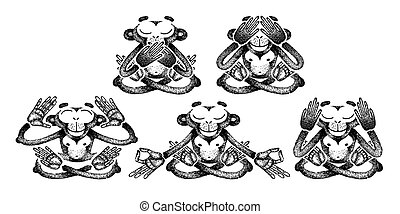 Set of monkeys. Monkeys are sitting in different poses and meditation. See no Evil, Hear no Evil, Speak no Evil. For poster, print, t-shirt, tattoo.