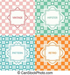 Set of mono line geometric seamless pattern with square, cube. Vintage frames in red, green, blue, gold. Wrapping paper. Vector background. Texture for greeting cards, invitations. Labels, badges.
