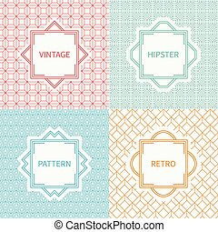 Set of mono line polygon hipster seamless pattern. Vintage frames in red, green, blue, gold. Wrapping paper. Vector background. Graphic texture for greeting cards, wedding invitations. Labels, badges.