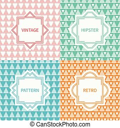 Set of mono line polygon hipster seamless pattern with triangle. Vintage frames in red, green, blue, gold. Wrapping paper. Background. Texture for greeting cards, wedding invitations. Labels, badges.