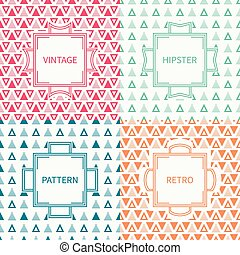 Set of mono line polygon hipster seamless pattern with triangle. Vintage frames in red, green, blue, gold. Wrapping paper. Vector background. Texture for greeting cards, invitations. Labels, badges.