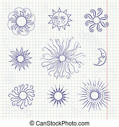 Set of monochrome doodle moon and different suns on notebook...