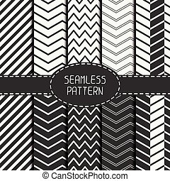 Set of fashion geometri seamless pattern with chevron. Collection of paper for scrapbook. Vector background. Tiling. Stylish graphic texture for your design, wallpaper, pattern fills.
