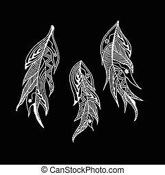 set of monochrome feathers style zentangle