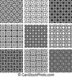 Set of monochrome geometric seamless patterns.