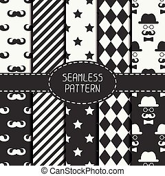 Set of monochrome hipster fashion geometri seamless pattern with mustache. Collection of paper for scrapbook. Vector background. Tiling. Stylish graphic texture for your design, wallpaper, pattern fills.